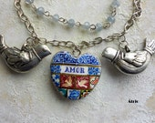 Portugal Antique Azulejo Tile Replica  Necklace - AMOR Heart with Love Birds -Valentine's Day with Dove Frescoes from Sintra - OOAK