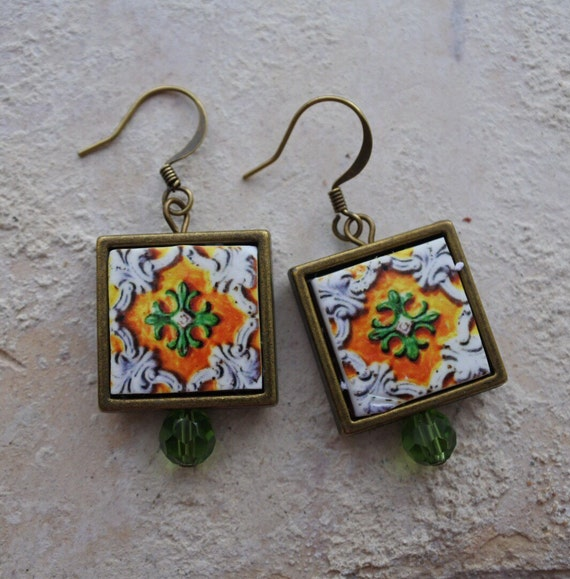 Tile Earrings Portugal Antique Azulejo FRAMED Replica  OVAR Portugal - Yellow Green (see photo) Waterproof - reversible Gift Boxed 263