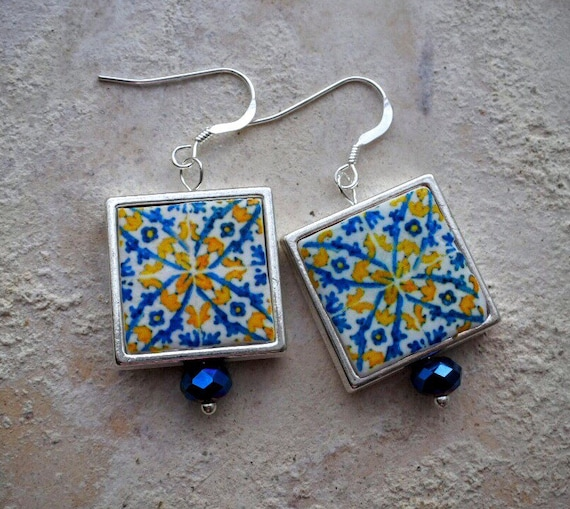 Portugal Antique Azulejo Tile Replica SILVER FRAMED Earrings- from BRAGA ! 17th Century Old Archbishop's Palace 767SF