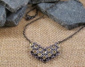 Chevron Necklace in Gunmetal and Jonquil