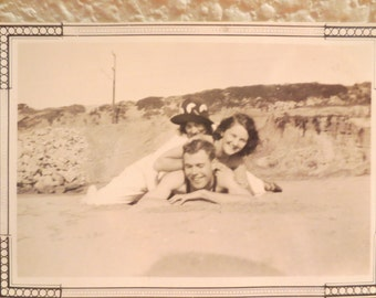 Vintage Photo 1920s Friends Playing at the Beach Boys Girls Beach having fun americana history