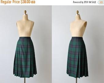 SALE Pendleton Wool Skirt / Vintage Plaid Skirt / Blue Green Plaid