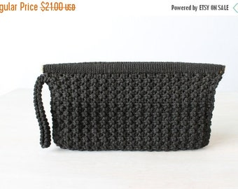 SALE Black Woven Clutch / Black Wristlit / Clutch purse / 1970's/