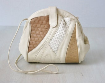 Vintage 1980s Color Block Leather Slouchy Purse / Shoulder Strap / Cross Body / Textured Leather