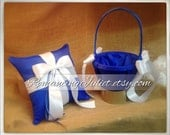 Custom Colors Flower Girl Basket and Romantic Satin Ring Bearer Pillow Combo...You Choose the Colors....shown in royal blue/white