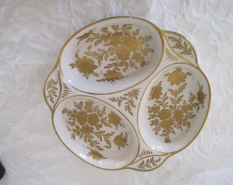 Elegant Pillivuyt France Porcelian Sectioned Dish Tray Hand Painted Paris Gold on White