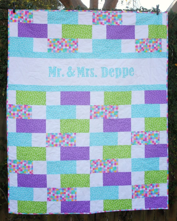Quilt Patterns For Wedding Gifts : Items similar to Wedding Quilt - Custom Name Quilt - Custom Wedding Quilt - Wedding Gift ...