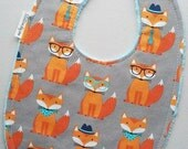 Handsome Foxes Baby Bib - Hipster Foxes on Light Aqua Minky