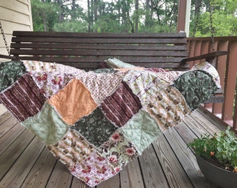 Quilts, king queen full twin, Rag Quilt, YOU CHOOSE SIZE, Forest Floor fabrics, green peach and brown, comfy cozy handmade bedding