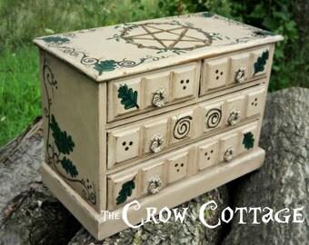 Hand Painted Pentacle Jewelry Keepsake Box Pagan Altar Supply Box