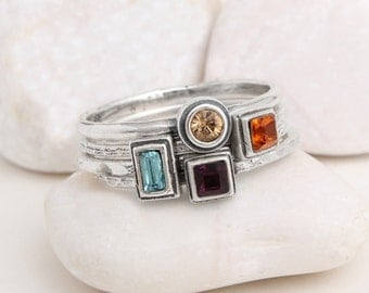Mother's Birthstone Rings, Set of 4 Stackable Birthstone Rings by Nelle and Lizzy.