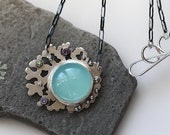 Large Aqua Chalcedony Necklace/ Tanzanite AmethystNecklace/ Coral Necklace/ Statement Necklace/ Barnacle/ Ocean Inspired/ GiftForHer