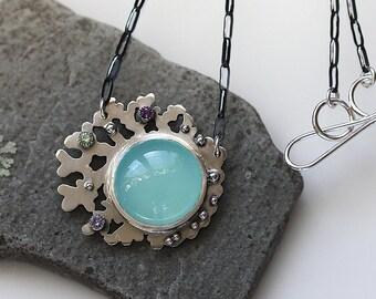 Large Aqua Chalcedony Necklace/ Tanzanite AmethystNecklace/ Coral Necklace/ Statement Necklace/ Barnacle/ Ocean Inspired/ GiftForHer