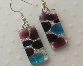 Dichroic Fused Glass Earrings - Glass Earrings - Dichroic Earrings - Dichroic Jewelry - Cute Earrings - Purple Earrings - Mosaic Tiles X7385