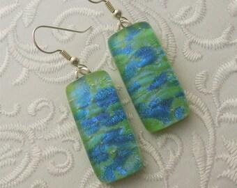 Blue Green Earrings - Bohemian Earrings - Dichroic Fused Glass Earrings - Glass Earrings - Dichroic Earrings - Dichroic Jewelry X7355