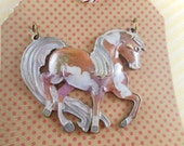 Horse Pendant Large - Hand Painted - Antique Brass Plated - Pink Painted Princess - Dry Gulch 66438
