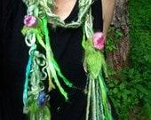 RESERVED  - scarf fantasy fiber art yarn braid lariat garland scarf - summer faerie bell flowers