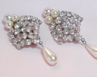 Vintage Wedding Earrings Rhinestones Pearl Drops Dangle Clip back Earrings Bridal Prom