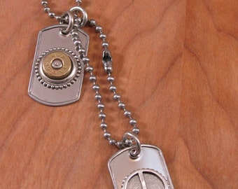 Bullet Jewelry - Unisex Military Style Dog Tag Necklace - 45 Auto Bullet Casing and Peace Sign on Stainless Dog Tags - Bullets for Peace