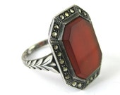 Ring, Size 6, Art Deco Sterling Silver, Carnelian Stone, Marcasite, Rectangle Stone, Carnelian Sterling Ring,  Rectangle Shape Jewelry