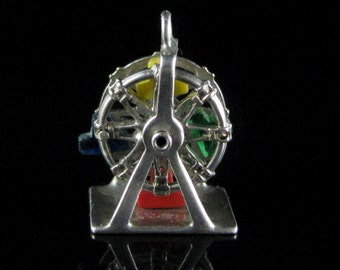 Charm, Sterling Silver, Mechanical, Ferris Wheel Charm, Circus, Fairs Rides, Moving Wheel, Colored Seats