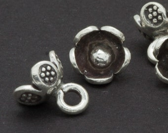 Three Thai Fine Silver Flower Charms Karen Hill Tribe 7mm to 8mm Embellishment -F3