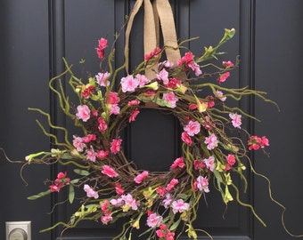 Cherry Blossoms Wreath, Pink Cherry Blossoms, Blossoming Cherry Trees, Spring Cherry Blossoms, Spring Wreaths, Wreaths, Easter Wreaths