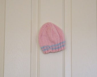 Hand Knitted - Baby Hat in Pink with Blue Stripes