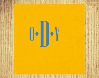 Yellow Cocktail Napkins: Your Choice of Monogram and Ink Color