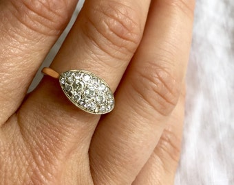 Mystic Eye Shaped Pave Diamond Ring, Engagement Ring