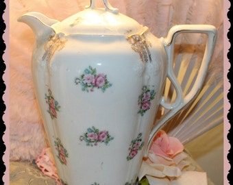 vintage Chocolate pot with pink rose clusters   antique cocoa pot