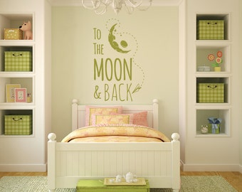 To the moon and back vinyl wall decal, wall sticker, vinyl wall art, item 30034