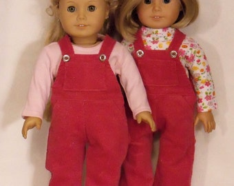 l8 inch Doll Pink Overalls