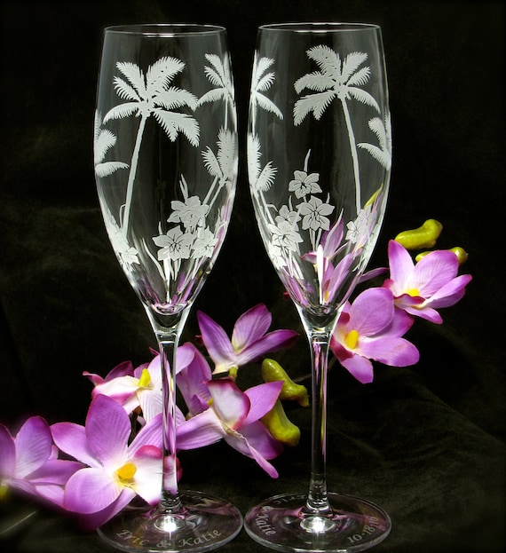personalized wedding toasting flutes tropical beach wedding
