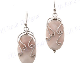 "1 1/16"" Mother Of Pearl Shell 925 Sterling Silver Earrings"
