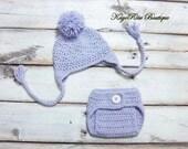 Newborn Baby Girl Crochet Ear Flap Pom Pom Hat and Diaper Cover Set Light Purple