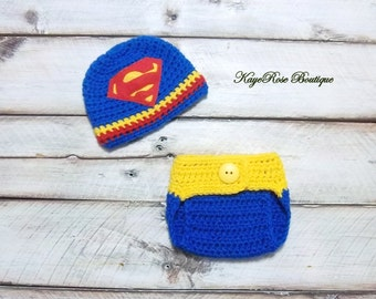 Superman Inspired Newborn to Three Month Old Baby Boy Crochet Hat and Diaper Cover Set Red Blue and Yellow
