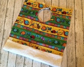 """Adorable Lady Bug, Bees and Snails Big Bib   Like a """"dish towel"""" bib only better"""