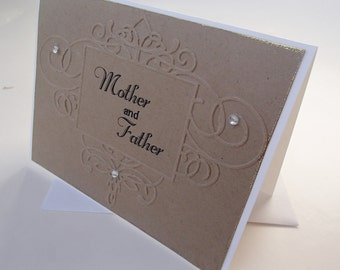 Mother and Father Kraft card- Embossed detail frame- Wedding- Thank You- Gold and black
