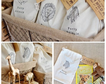 PARTY ANIMALS Muslin Favor Bags -  Set of 10 - Jungle Safari, Safari Animals, Wild Animals