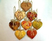 Fall Heart Ornaments | Thanksgiving | Holidays | Halloween | Party Favors | Country Rustic | Handmade Ornament | Tree Ornament | Set/8 | #1