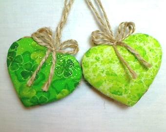 Green Heart Ornaments   Home Decor   Party Favors   St Patrick's Day    Irish Decor   Set/2   Tree Ornament   Primitive Folk Art    #1