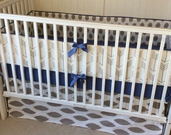 Crib Bedding Set Taupe and Denim Blue Arrows READY TO SHIP