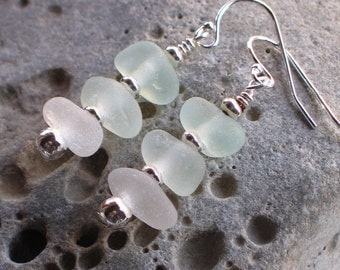 Natural Sea Glass Sterling Silver Earrings Soft Pastels (708)