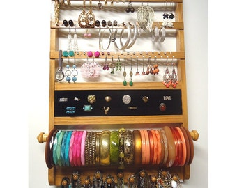 Jewelry Organizer Deluxe, Elegant Wall Mount, All-in-One, Honey Stain, Earring Holder, Necklace Display, Bracelet Ring Holder, Oak Hardwood