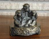 Evil Monkeys Incense Burner Vintage metal