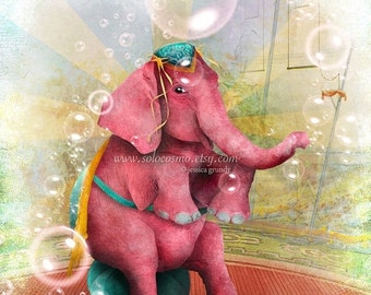 "SUMMER SALES EVENT Elephant Art Print - ""Senora Beatriz, el elefante rosa"" Medium Sized Premium Hahnemuhle Giclee Fine Art Print 11x17 or 13"