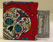 Condom Wallet, Condom Case, red skull print, guitar pick wallet