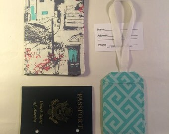 Passport Cover plus Luggage Tag, travel set, passport wallet, blue door, Greek fabric, cityscape