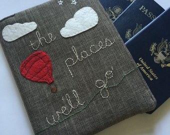 Family Passport Wallet, The Places We'll Go, Embroidered Passport Cover for 4, Travel Wallet